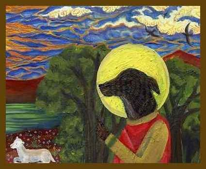 Detail einer Ikone mit heiligem Hund