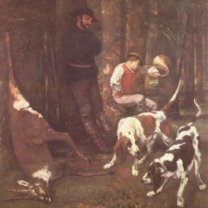 Die Beute (Jagd mit Hunden) von Gustave Courbet, 1857